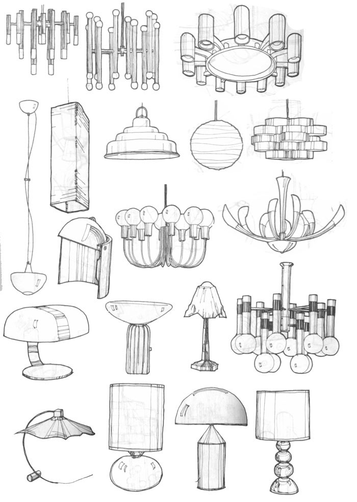 筒灯手绘图